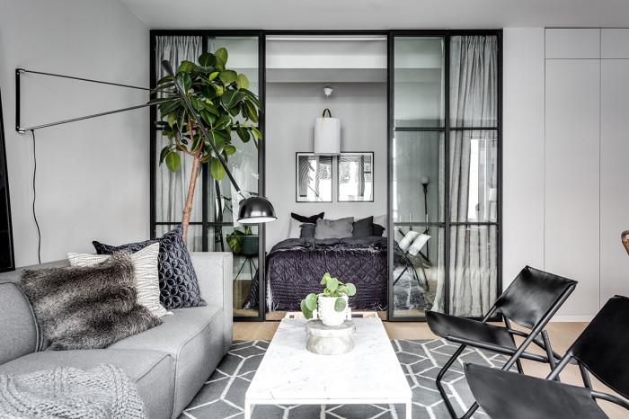 Chủ đề tổng thể của căn hộ là màu xám