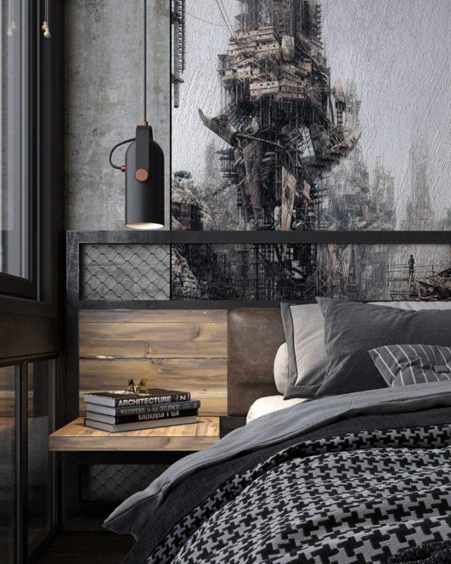 Phòng ngủ kết hợp gỗ tự nhiên