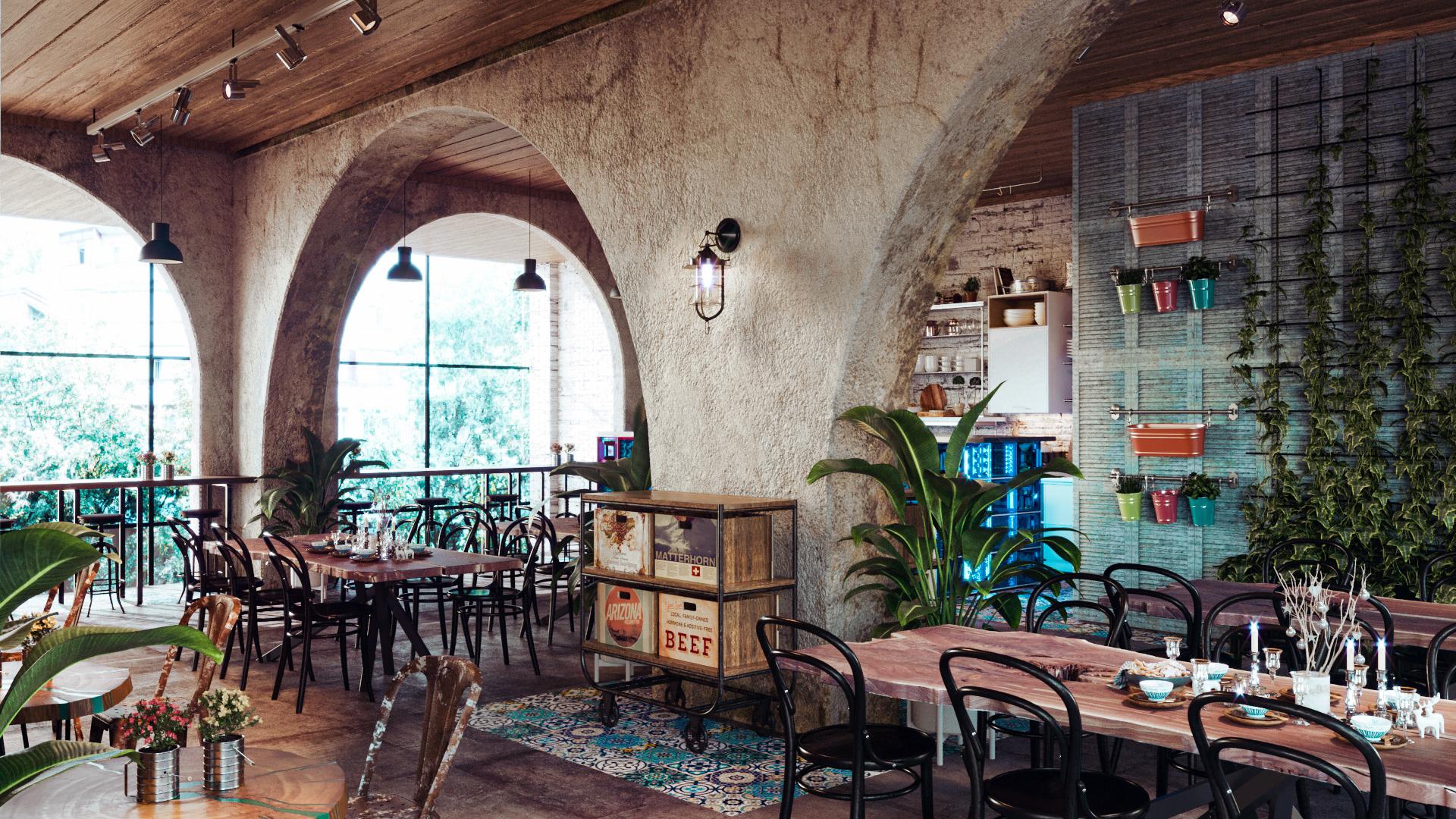 mẫu cafe phong cách Vintage